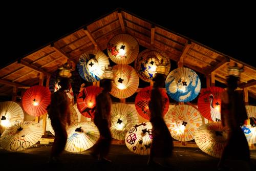 Les ombrelles du festival de Yamaga