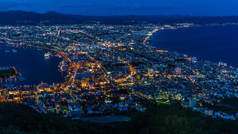 Vue nocturne sur Hakodate (Hokkaido)