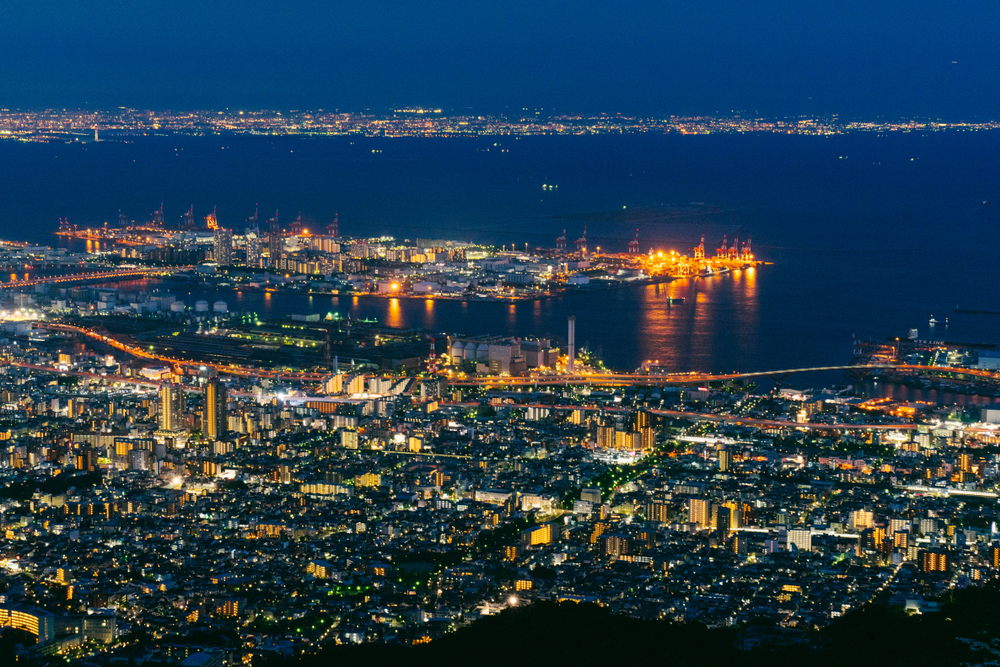 Vue nocturne depuis le Mont Maya (Kobe)