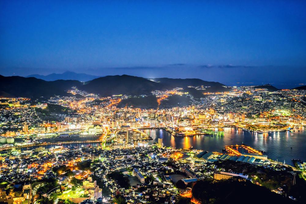 Vue nocturne depuis le Mont Inasa (Nagasaki)