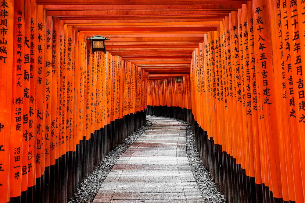 Torii on Fushimi Inari Taisha path in Kyoto