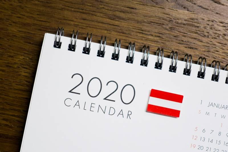 2020年オーストリアの祝日カレンダー